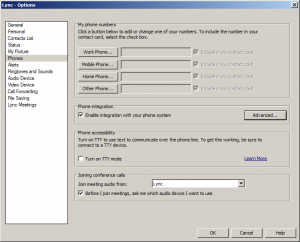 1. Lync Client - Enable integration